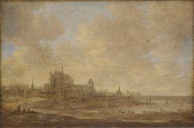 Flusslandschaft mit der Leidener Hooglandse Kerk