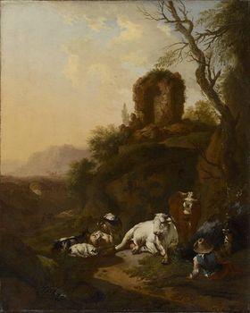 Bukolische Landschaft mit Ruine
