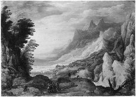 Felslandschaft mit Blick auf Kirche im Tal