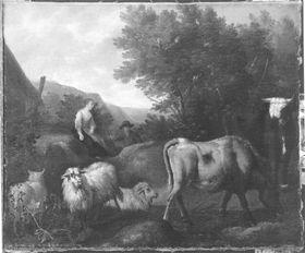 Landschaft mit Vieh und Hirten