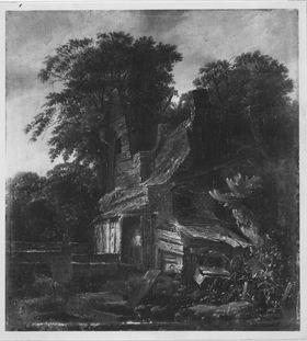 Baumlandschaft mit Hütte