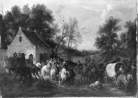 Soldaten ziehen durch ein Dorf