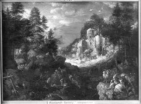 Gebirgslandschaft mit Tobias und dem Engel