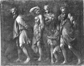 Römischer Triumphzug: Gefangene Männer und Frauen