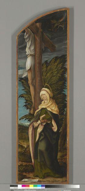 Kreuzigungsaltar, rechter Flügel: Der unbußfertige Schächer und die hl. Martha