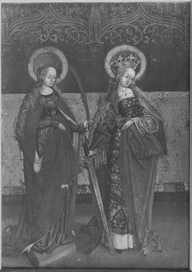 Flügel eines Kreuzaltares, Außenseite: Die hll. Katharina und Barbara
