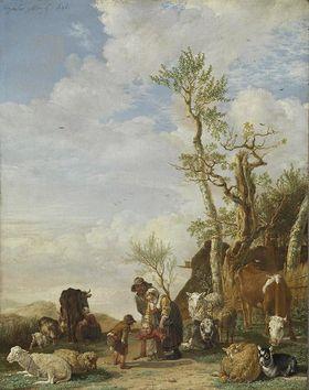 Bauernfamilie mit Vieh