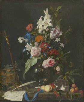 Blumenstillleben mit Totenkopf und Kruzifix