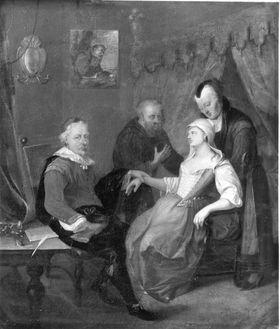 Kranke Frau mit Dienerin