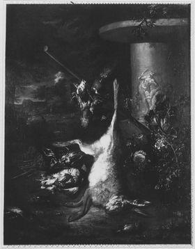 Jagdbeutestillleben mit totem Hasen