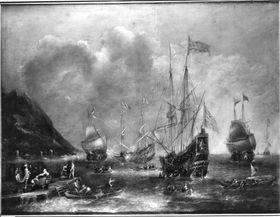 Seestück mit vier Fregatten