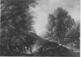 Waldlandschaft mit Zigeunerlager