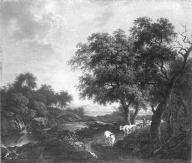 Landschaft mit Hirt und Rindern auf einem Weg unter Bäumen
