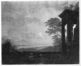 Landschaft mit Tempelruine bei Sonnenaufgang