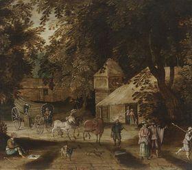 Dorflandschaft mit dreispänniger Kutsche