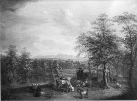 Pfälzische Landschaft mit Herde