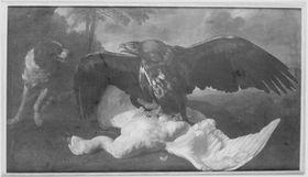 Stillleben mit Adler, Hund und totem Schwan