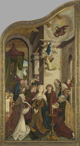 Wettenhauser Hochaltar: Tod Mariae Rückseite: Abschied Christi (rechte Hälfte) mit Stifter Ulrich Hieber