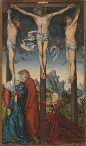Christus am Kreuz zwischen den beiden Schächern