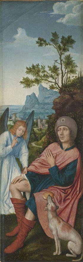 Rem-Altar: Der hl. Rochus mit dem Engel (Rückseite: Hl. Anna Selbdritt)