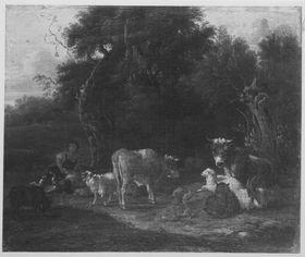 Ruhende Herde mit Hirten