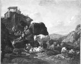 Italienische Berglandschaft mit Hirten und Viehherde