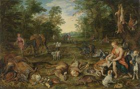 Waldlandschaft mit Nymphen und Jagdbeute