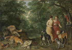 Zwei Nymphen mit Jagdhunden