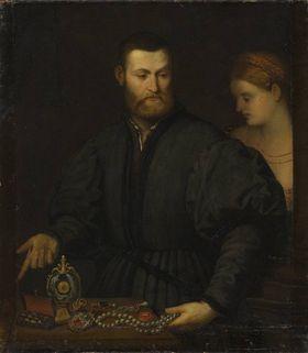 Ein Juwelier mit einer Dame