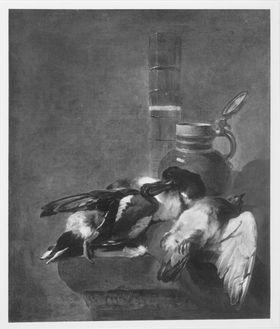 Stillleben mit totem Geflügel, Deckelkrug und Passglas