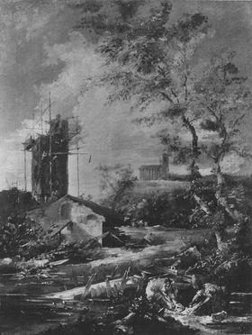 Landschaft mit unvollendetem Turm