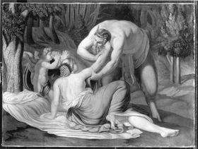 Satyr, Nymphe und Amor