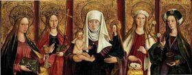 Predella mit den hll. Barbara, Margaretha, Anna Selbdritt, Dorothea und Maria Magdalena