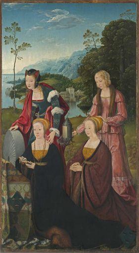 Marientod-Altar: Die hll. Christina und Gudula mit Christina und Sibilla Hackeney Außenseite: Hll. Sebastian und Rochus