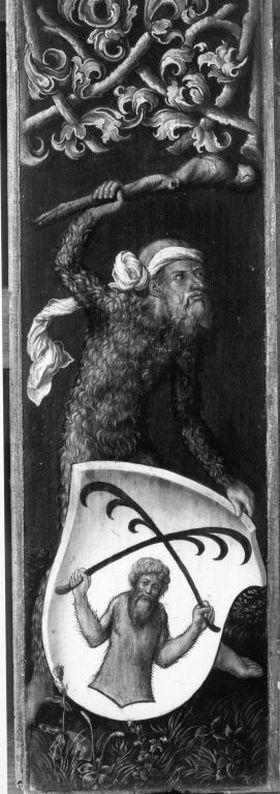 "Bildnistriptychon des Oswolt Krel, linker Flügel: ""Wilder Mann"" mit dem Wappen des Oswolt Krel"