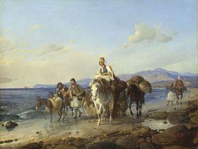 Griechische Landleute am Meeresstrand
