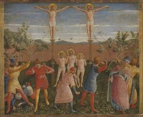 Die hll. Cosmas und Damian und ihre Brüder werden gekreuzigt, gesteinigt und mit Pfeilen beschossen