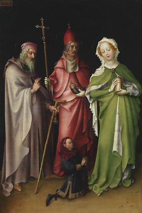 Flügel des Weltgerichtsaltares: Hll. Antonius, Papst Cornelius und  Maria Magdalena mit einem Stifter
