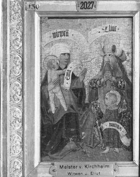 Zweiter Kirchheimer Sippenaltar: Witwen und Eliut mit Emira und Maternus