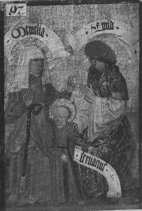 Zweiter Kirchheimer Sippenaltar: Memelia und Enim mit Servatius