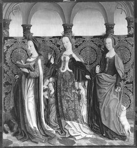 Beschneidungsaltar: Die hll. Columba, Ursula und Agnes