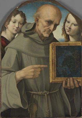 Der hl. Bernardin von Siena mit zwei Engeln
