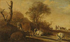 Landschaft mit ruhenden Kühen und Ziegen