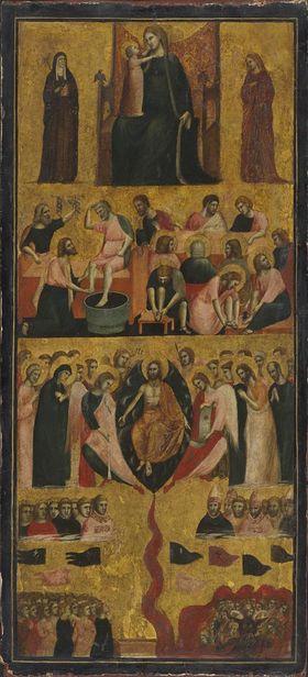 Thronende Madonna mit zwei Heiligen, Fußwaschung, Jüngstes Gericht