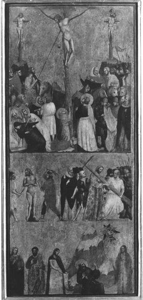 Kreuzigung Christi, Geißelung und Kreuztragung, Fünf Heilige