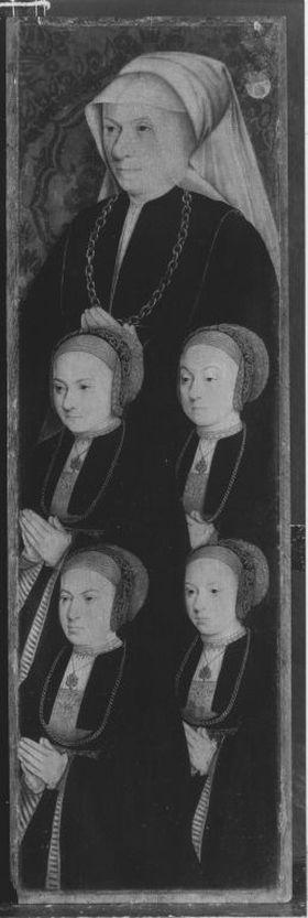 Johannes-Altar(?): Sibylla von Aich, geb. Reidt, mit vier Töchtern Rückseite: Hl. Agnes