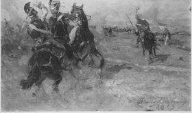Gefecht zwischen russischen und polnischen Kavalleristen