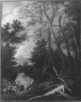 Waldlandschaft  (Mit Staffagefiguren von Theobald Michau, 1676-1765)