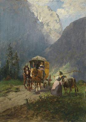 Postkutsche in den Bergen
