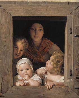 Junge Bäuerin mit drei Kindern im Fenster